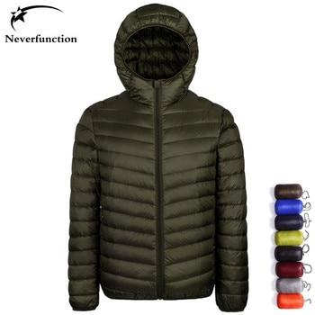 New 2019 Warm winter Ultralight Men Windproof waterproof Hooded down jacket Lightweight Overcoats Casual Classic Coats Plus Size