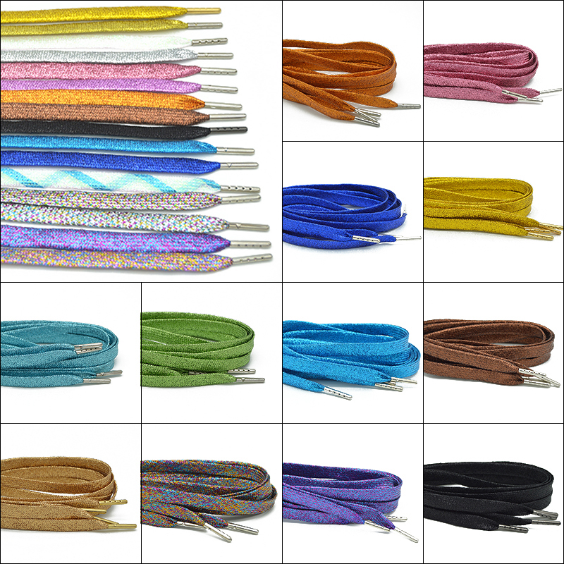 Colorful Man Women Shoelaces Of Sneakers Metallic Glitter Shiny Gold Shoelace Silver Flat Shoe Laces Sports Running Shoe Lacing