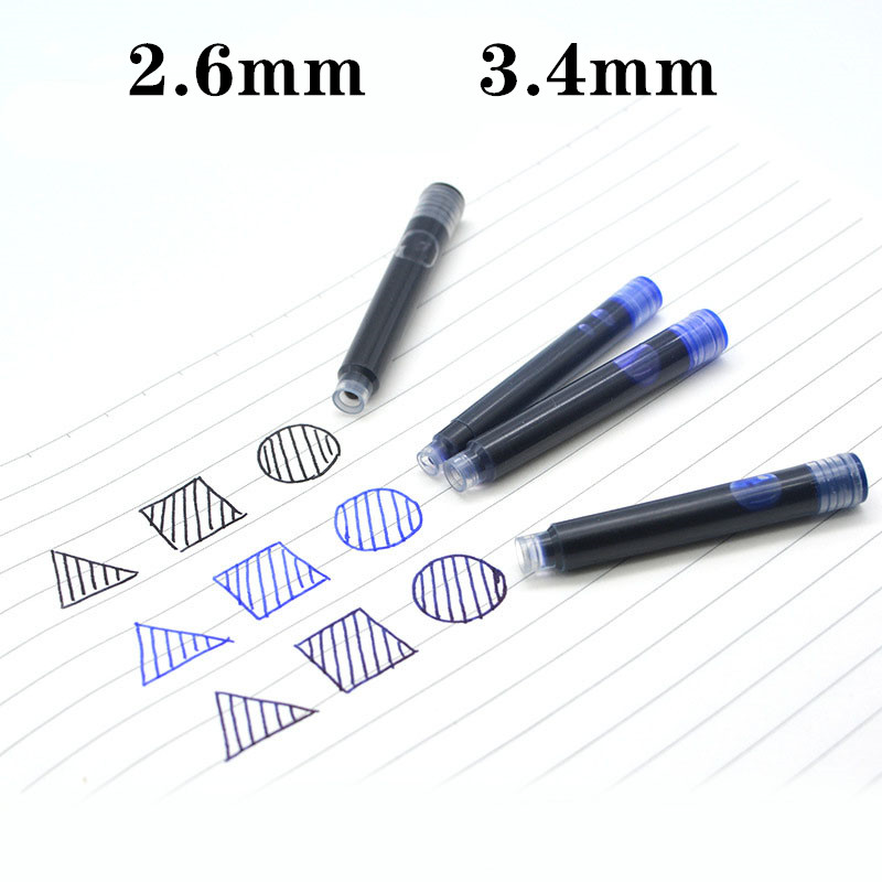 10 Pcs Of 2.6mm/3.4mm Black And Blue General Purpose Pen, Pen And Ink Rechargeable Pen