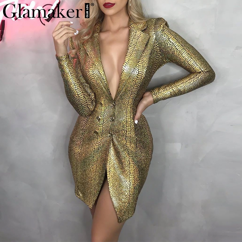 Glamaker <font><b>Gold</b></font> snake print <font><b>sexy</b></font> v-neck short <font><b>dress</b></font> Bodycon elegant buttons mini blazer <font><b>dress</b></font> Female 2019 autumn party club <font><b>dress</b></font> image