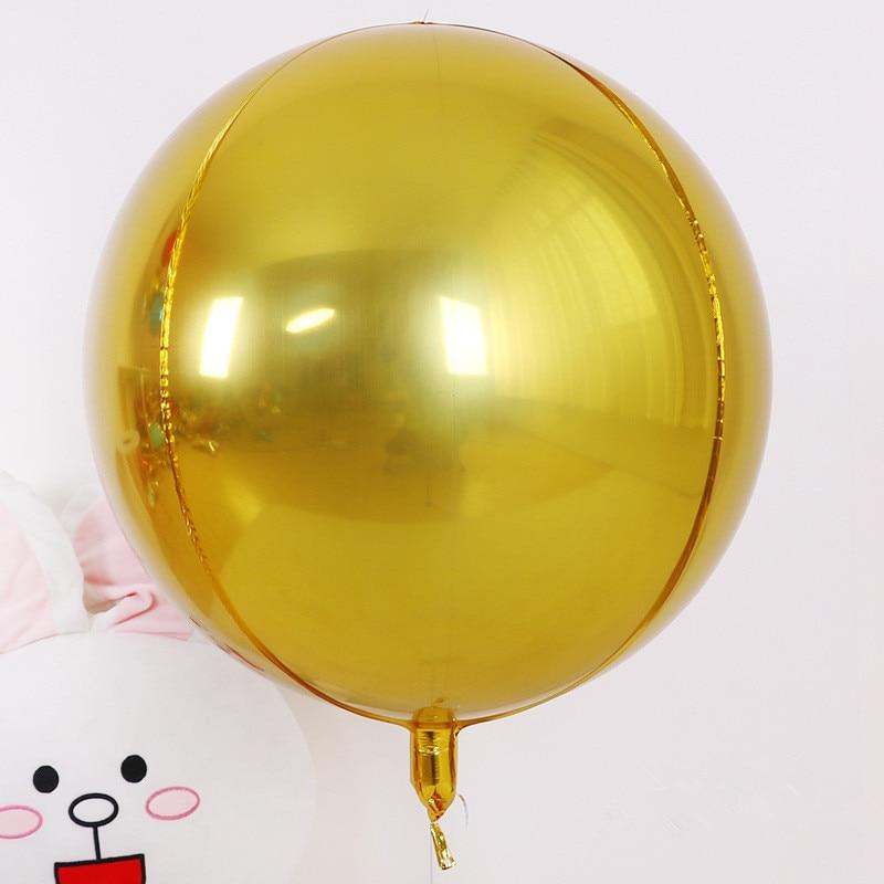 5 шт./лот 10 18 22 дюйма 4D круглые шарики из алюминиевой фольги металлические воздушные шары Свадебные украшения для дня рождения гелиевые шары-3
