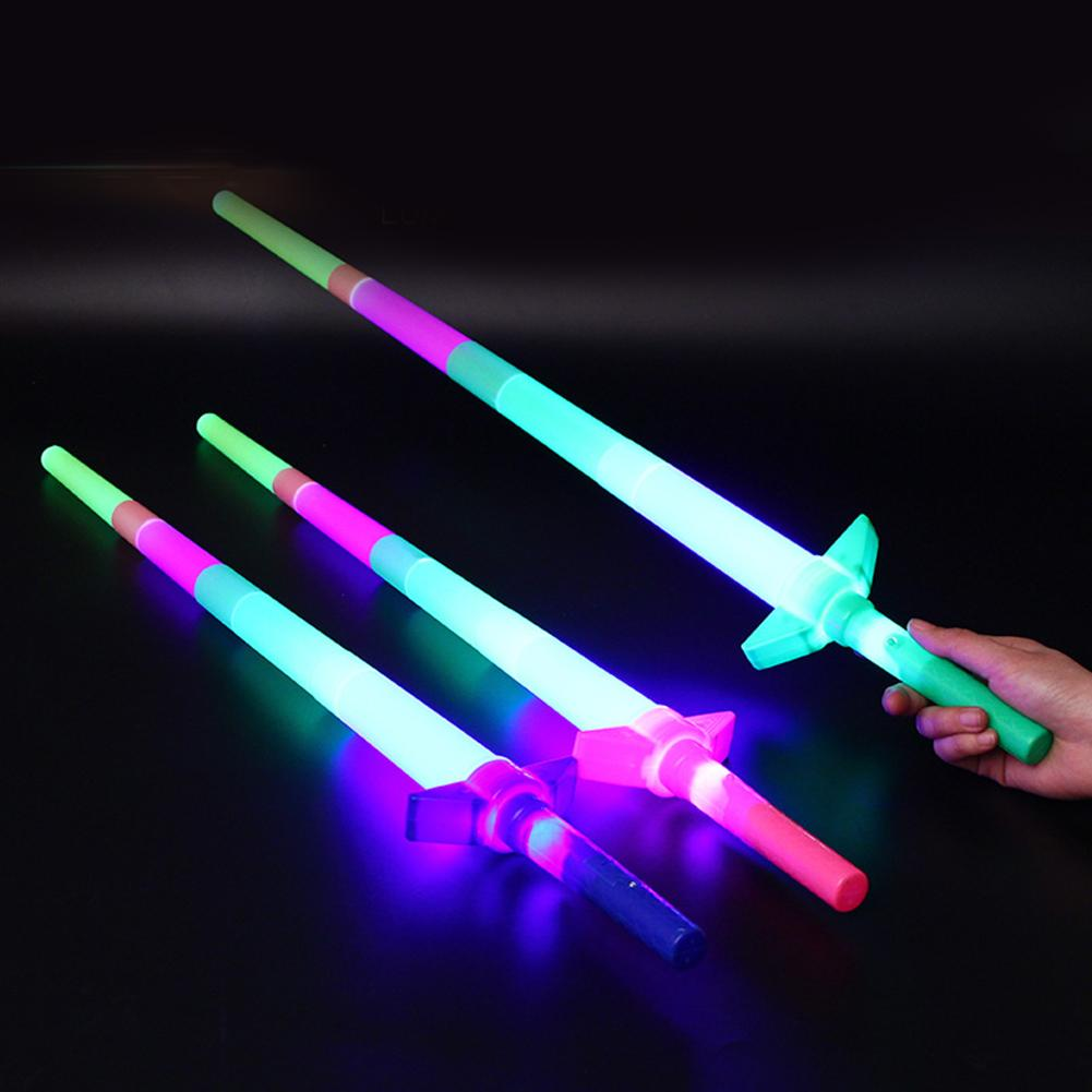 4 Section Extendable LED Glow Sword Kids Toy Flashing Stick Concert Party Props Colorful Light Up Glowing
