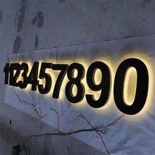 Custom made back light stainless steel house numbers, shopfront backlit LED letters
