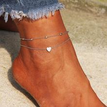 Leg-Bracelet Heart-Anklets Layered Women for Tornozeleira-Feminina JUJIE