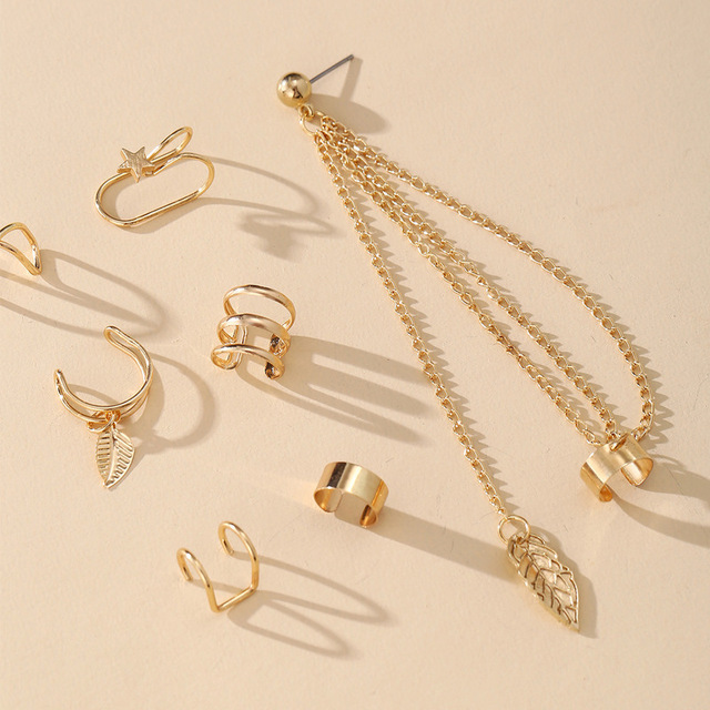 7 pçs moda estrela de ouro folhas não-piercing orelha clipe brincos para mulheres simples falso cartilagem orelha manguito jóias clipe acessórios 2