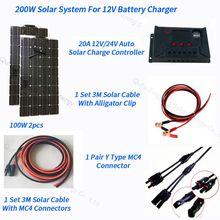 200W مرنة لوحة طاقة شمسية 2 قطعة من 100W لوحة الشمسية 20A جهاز تحكم يعمل بالطاقة الشمسية 3M كابل ل RV قارب سيارة التخييم 12V 24V شاحن بطارية