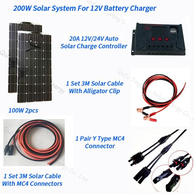 200W Flexible Solar Panel 2pcs of 100W Panel Solar 20A Solar Controller 3M Cable for RV Boat Car Camping 12V 24V Battery Charger