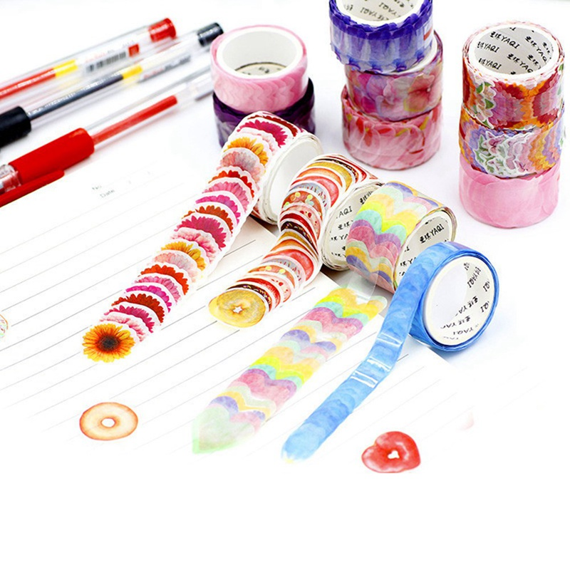 200PCS/Roll Flower Petals Washi Tape Decorative Masking Tape Fragrance Washi Tape Scrapbooking Diary Paper Stickers