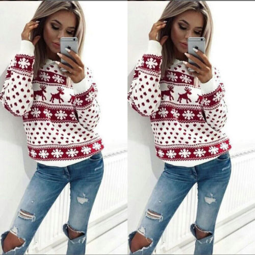 New Fashion Women Lady Jumper Sweater Pullover Tops Coat Christmas Winter