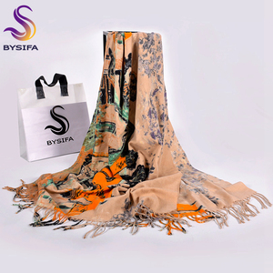 Image 2 - [Bysifa] lenços de lã de camelo feminino impresso nova moda cashmere pashmina lenço longo xale elegante marca quente feminino cachecóis envoltórios