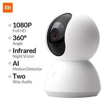 Xiaomi mijia mini câmera de segurança residencial, filmadora de visão noturna infravermelha, hd com wi fi 2mp 1080p ângulo de 360 s em fio para segurança residencial sistema de câmera,