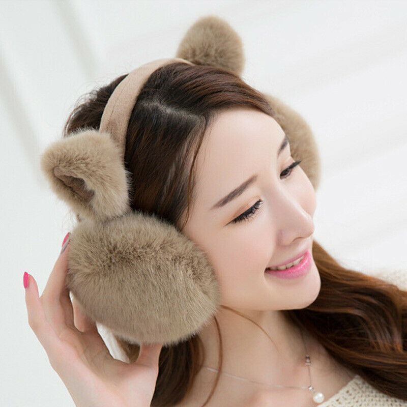 Women`s Winter Warm Plush Cat Earmuffs Girls Cute Soft Cat Ear Solid Color Kawaii Earmuffs