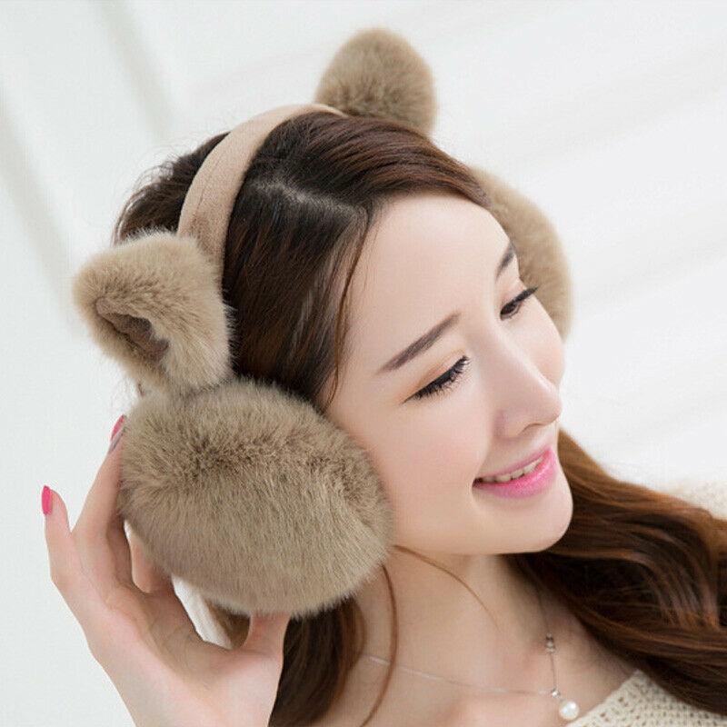 Women`s Winter Warm Plush Cat Earmuffs Girls Cute Soft Cat Ear Solid Color Kawaii Earmuffs