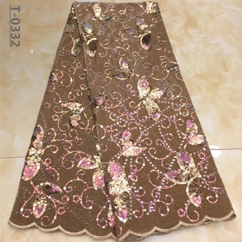 Latest African Velvet Lace Fabric 2020 High Quality African French Net Laces With Sequins Embroidery Tulle Lace For Dresses