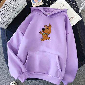 Ponadgabarytowy uroczy pies bluza z nadrukiem Kawaii bluzy dla kobiet top odzież z kapturem kobieta sama zima bluzy damskie z pełnym rękawem tanie i dobre opinie SONDR Poliester CN (pochodzenie) REGULAR Pełna Grube Polar sweatshirt women Swetry Cartoon Na co dzień