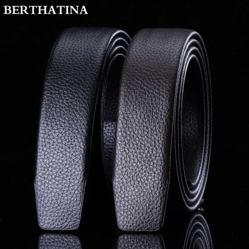 Full Grain Leather Belt No Buckle Belt Black Luxury Genuine Leather Automatic Belts Strap Men Ribbon Waist Strap Belt