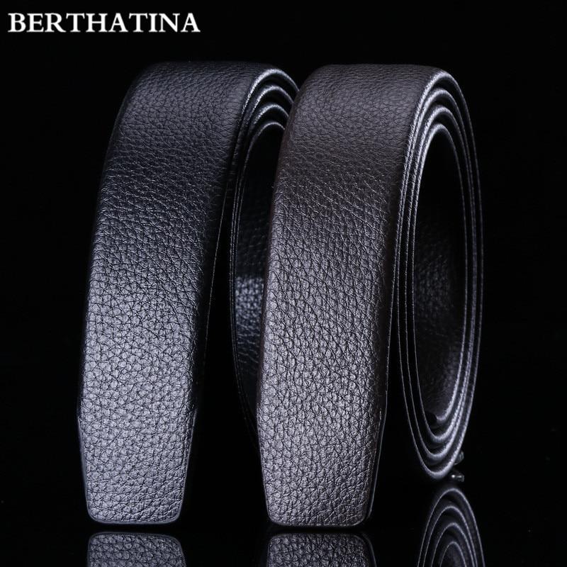 Full Grain Leather Belt No Buckle Belt Black Luxury Genuine Leather Automatic Belts Strap Men Ribbon Waist Strap Belt