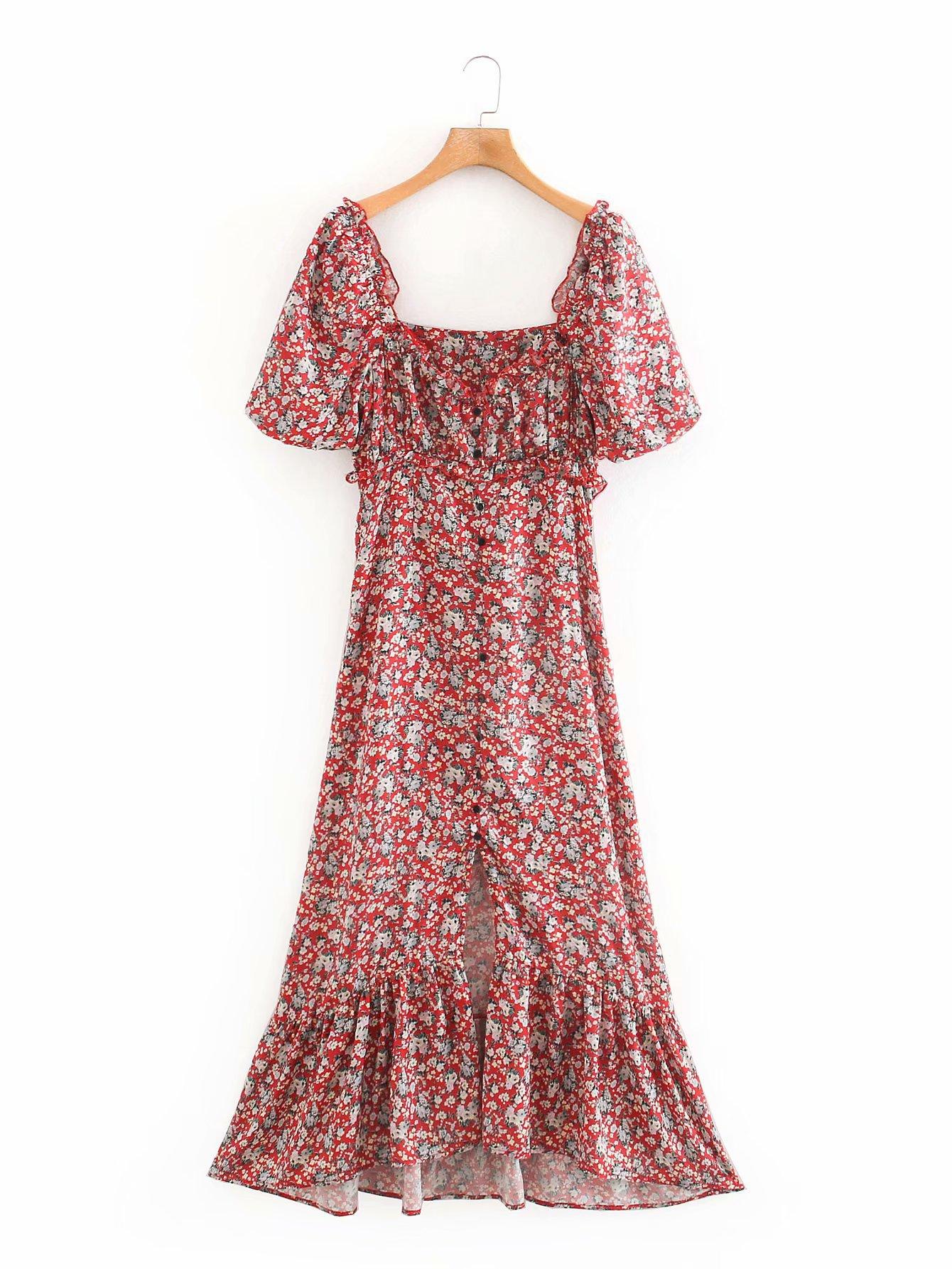 2020 Spring Summer New European Satin Print Red Green Zaraing Women Dress Vadiming Sheining Female Dress Vintage Plus XDN9451