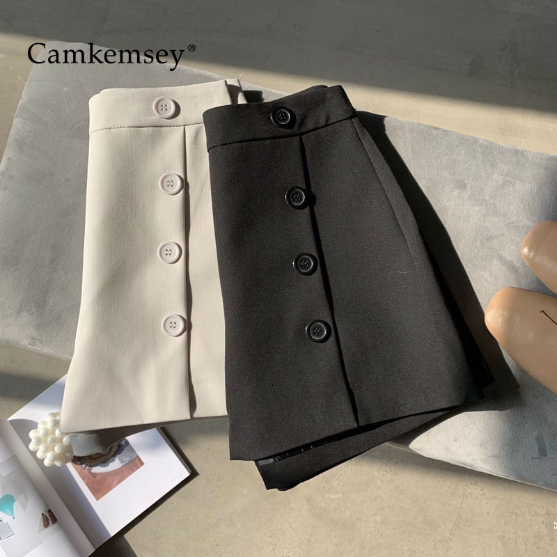 CamKemsey New Summer Shorts Women 2020 Korean Solid Elegant Single Breasted Office Lady Work Wear Casual High Waist Suit Shorts