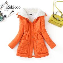 Rebicoo 2019 winter cotton coat womens slim snow jacket in the long section of thick warm pik