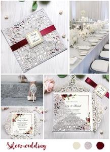 Image 5 - 100 sztuk srebrny kwadratowy papier brokatowy laserowo wycinane zaproszenie ślubne z spersonalizowany ślub Decor zaopatrzenie firm