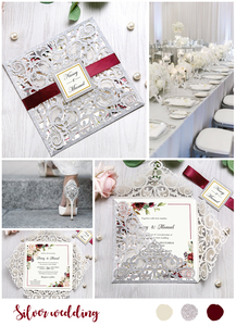 Image 5 - 100pcs Silver Square Glitter Paper Laser Cut Wedding Invitation Card With Personalized Wedding Decor Party Supplies