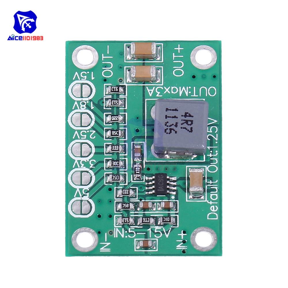 Diymore Adjustable DC-DC DC 5-16V To 1.25V/1.5V/1.8V/2.5V/3.3V/5V 3A Step Down Buck Converter Power Supply Module For LED
