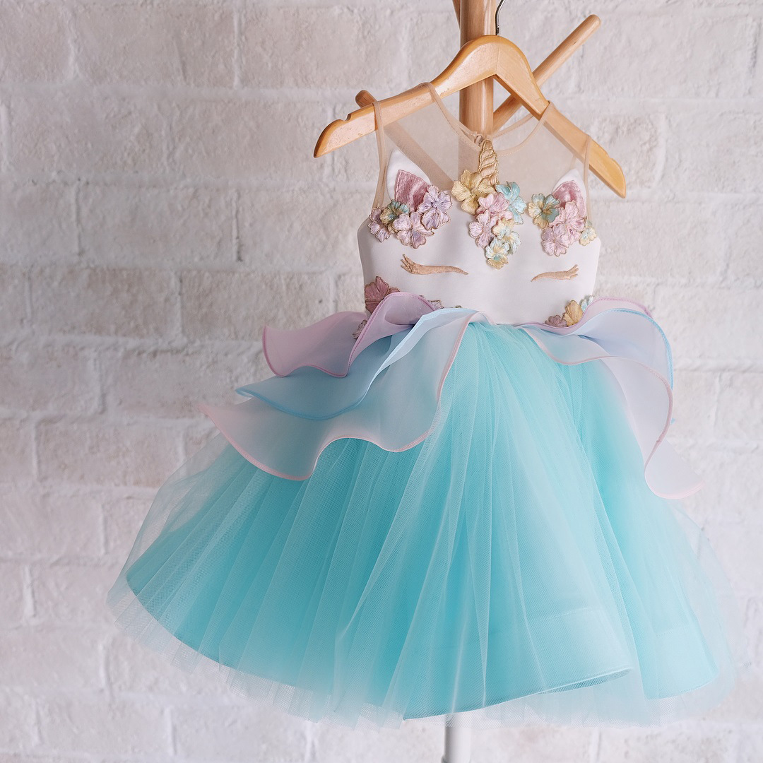 Kids' Skirt Camisole Monster-Princess Dress 2018 Unicorn Puffy Mesh Dress Costumes