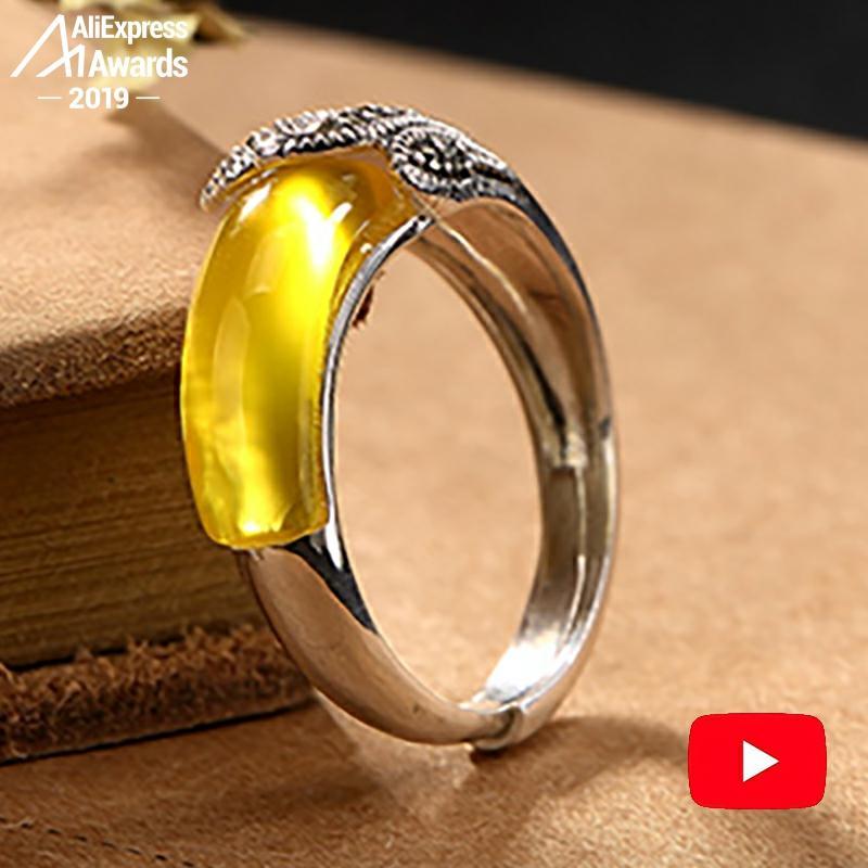 Black Friday Amber Gemstone NOT FAKE Israel S925 Fine Antique Ring Sterling Silver Women Aristocrat Noble Natural Artisan Baltic