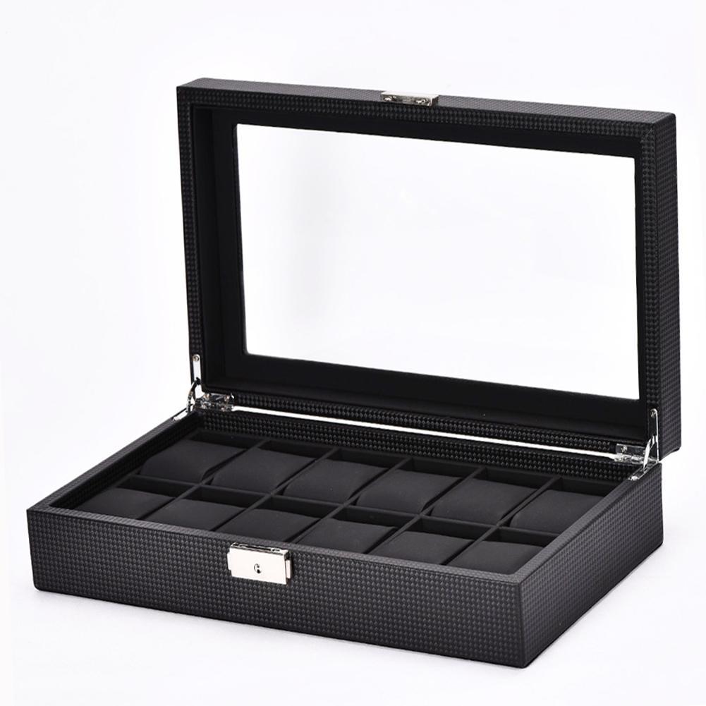 Multi-Slots Carbon Fiber Watch Display Case Top Jewelry Storage Organizer Box Watch Display Box Jewelry Storage Organizer Case L
