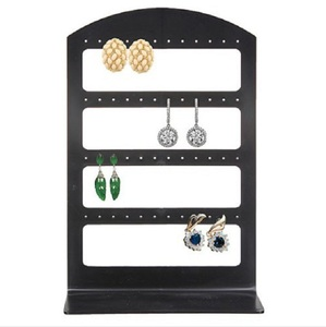 Simple 48 Holes Jewelry Organizer Stand Black Plastic Earring Holder Pesentoir Fashion Earrings Display Rack Etagere For Sale