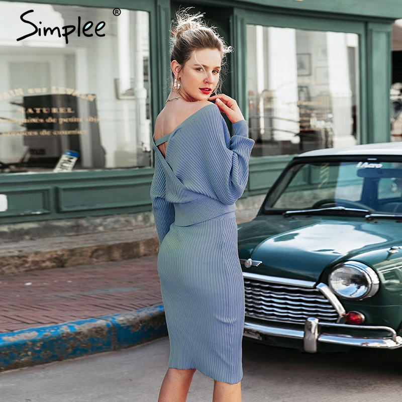 Image 2 - Simplee Sexy v neck women knitted skirt suits Autumn winter  batwing sleeve 2 pieces Elegant party female sweater pink dressDresses