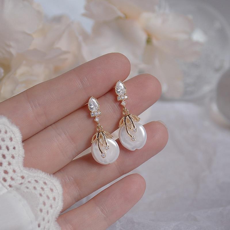 Elegant Bohemia Women Pearl Earrings Luxury AAA Zirconia 14K Real Gold Stud Earring Wedding Jewelry for Bridal Christmas Gift