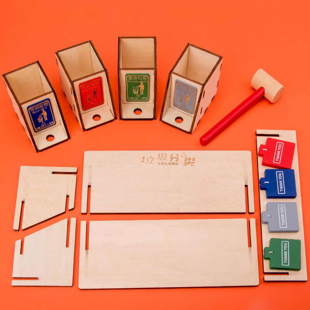 Montessori Günlük Yaşam Beceri Oyuncaklar Ahşap DIY çöp kutuları Kurulu Oyuncak Çöp Sınıflandırma çöp kutuları ile Oyun Kartları Oyuncaklar için Hediye