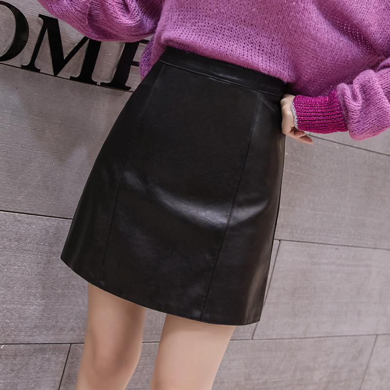 Image 3 - 2019 New Arrival Autumn Winter Sexy Lady Skirts Women Trend Solid PU Faux Leather Skirt Mini Female Invisible Zipper skin Skirts-in Skirts from Women's Clothing
