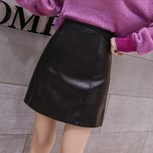 Image 3 - 2019 New Arrival Autumn Winter Sexy Lady Skirts Women Trend Solid PU Faux Leather Skirt Mini Female Invisible Zipper skin Skirts