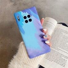 Luxo gradiente pintura a óleo telefone caso para huawei p mate 30 40 pro nova 5 6 7 se pro para honra 9x 20 30 prwater desenho capas