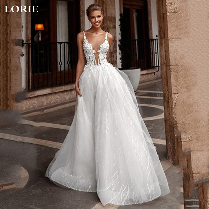 LORIE A Line Boho Wedding Dress 2019  Spaghetti Straps Glitter Tulle Sexy Bridal Wedding Gowns Vestidos De Novia
