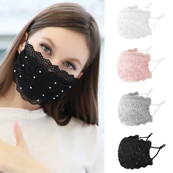 Fashion Women Lace Beading Mouth Nose Face Masks Washable Reusable Windproof Mouth Muffle Black Mask Mascarillas Fast Delivery image