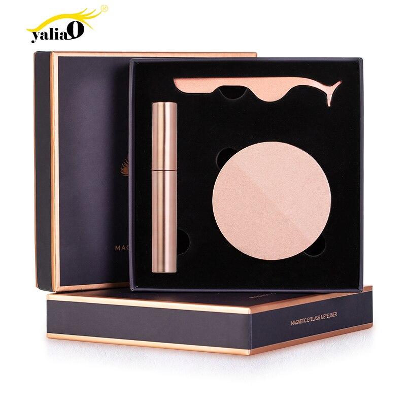 YALIAO Kit Delineador Cílios Pinça Magnética Magnética Ímã Olho Cílios de Longa Duração Natural Completa Com Aplicador de Cílios