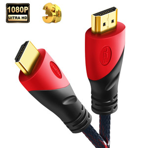 15m High quality HDMI Cable Gold Plated Connection with Red, black and white mesh 3D 1.4 1080P,0.5m,1m,1.5m,2m,3m,5m,8m,10m,(China)