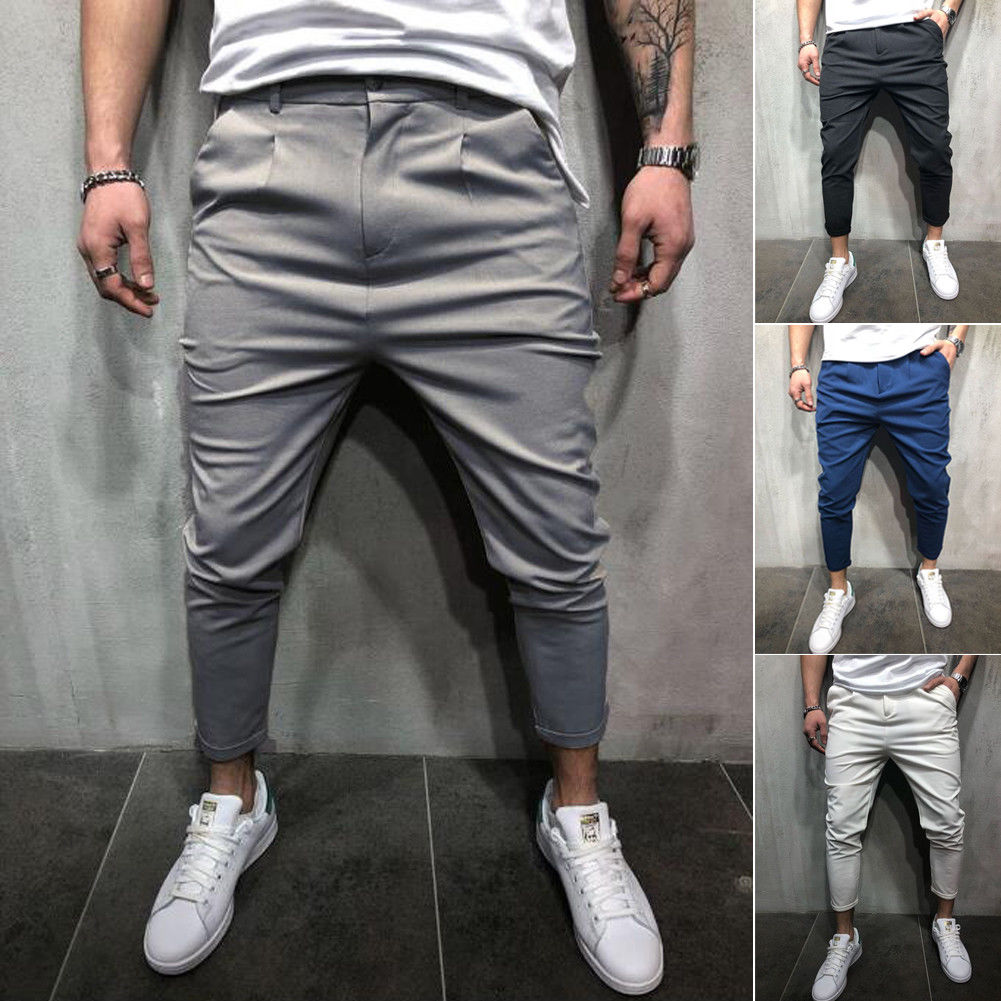 Men Pants Hip Hop Harem Joggers Pants 2018 Male Trousers Mens Joggers Solid Shrink Ankle Pants Sweatpants M-4XL