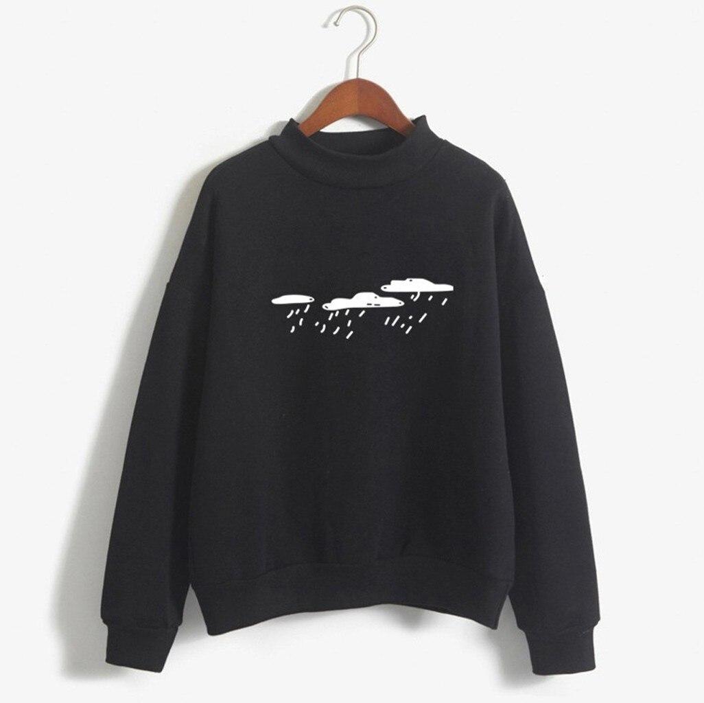 Winter Pullover Sweatshirts Women 2020 Women Fashion Long Sleeve Cloud Rain Printed Sweatshirt Blouse Tops T -Shirt(China)