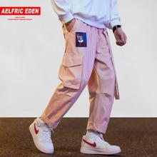 Aelfric Eden Японская уличная одежда брюки карго для мужчин и женщин с вышитыми лентами и буквами хип-хоп брюки для бега повседневные розовые шаровары