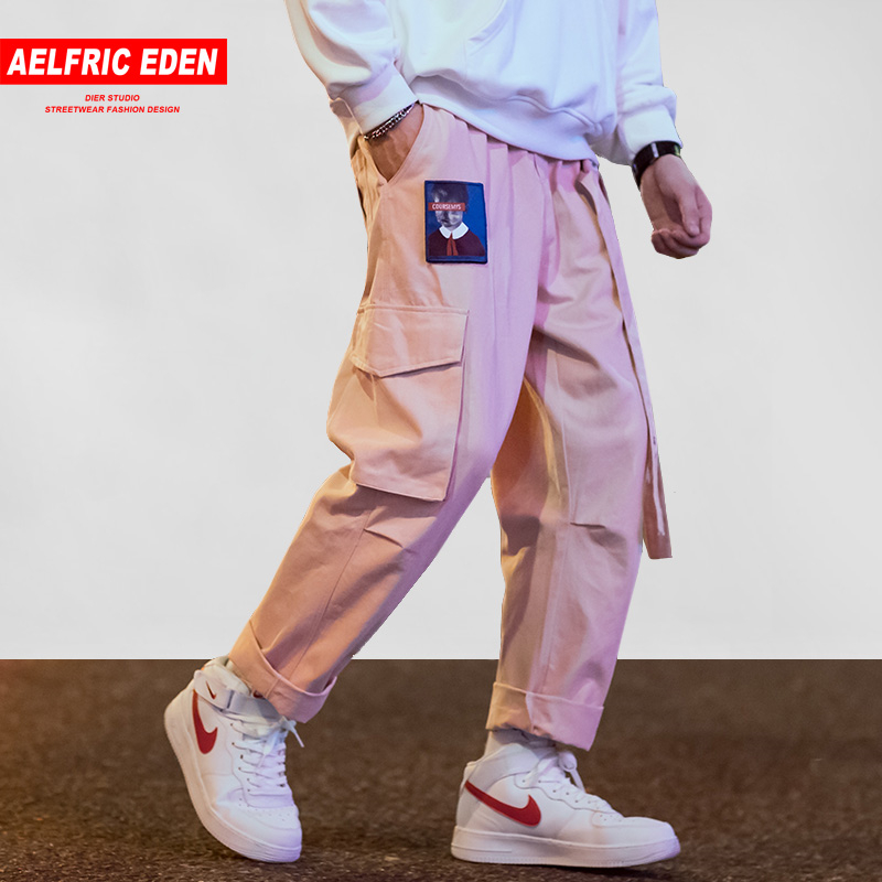 Aelfric Eden Japanese Streetwear Cargo Pants Men Women Ribbon Letter Embroidery Hip Hop Joggers Trousers Casual Pink Harem Pants