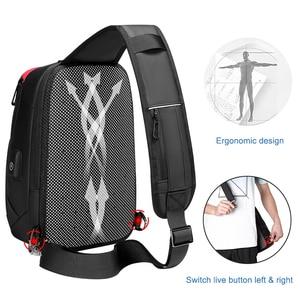 Image 3 - Dienqi黒胸バッグ男性のためのpvc防水スリングバッグミニ旅行スクールクロスボディバッグマルチポケットジップ個人ポケットバッグ