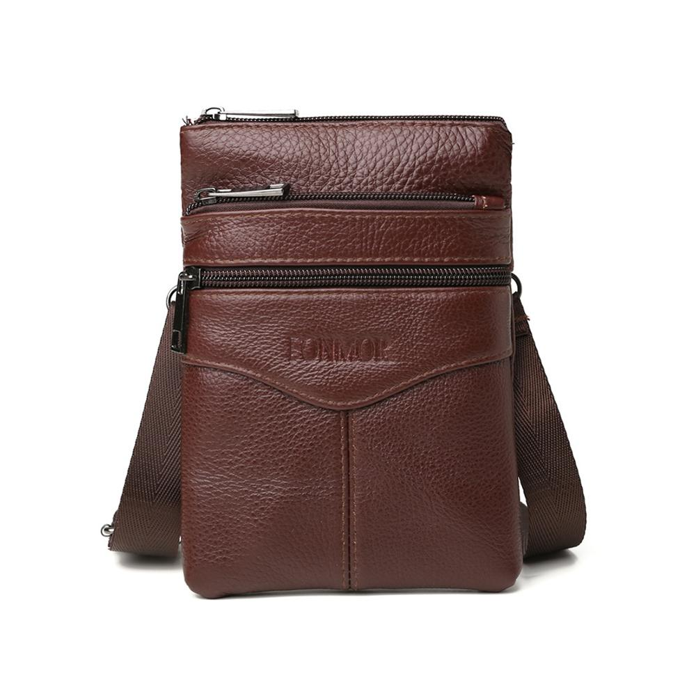 Vintage Cowhide Leather Shoulder Bag For Men Solid Color Fashion Messenger Crossbody Bag Male Zipper Casual Mobile Phone Pouch