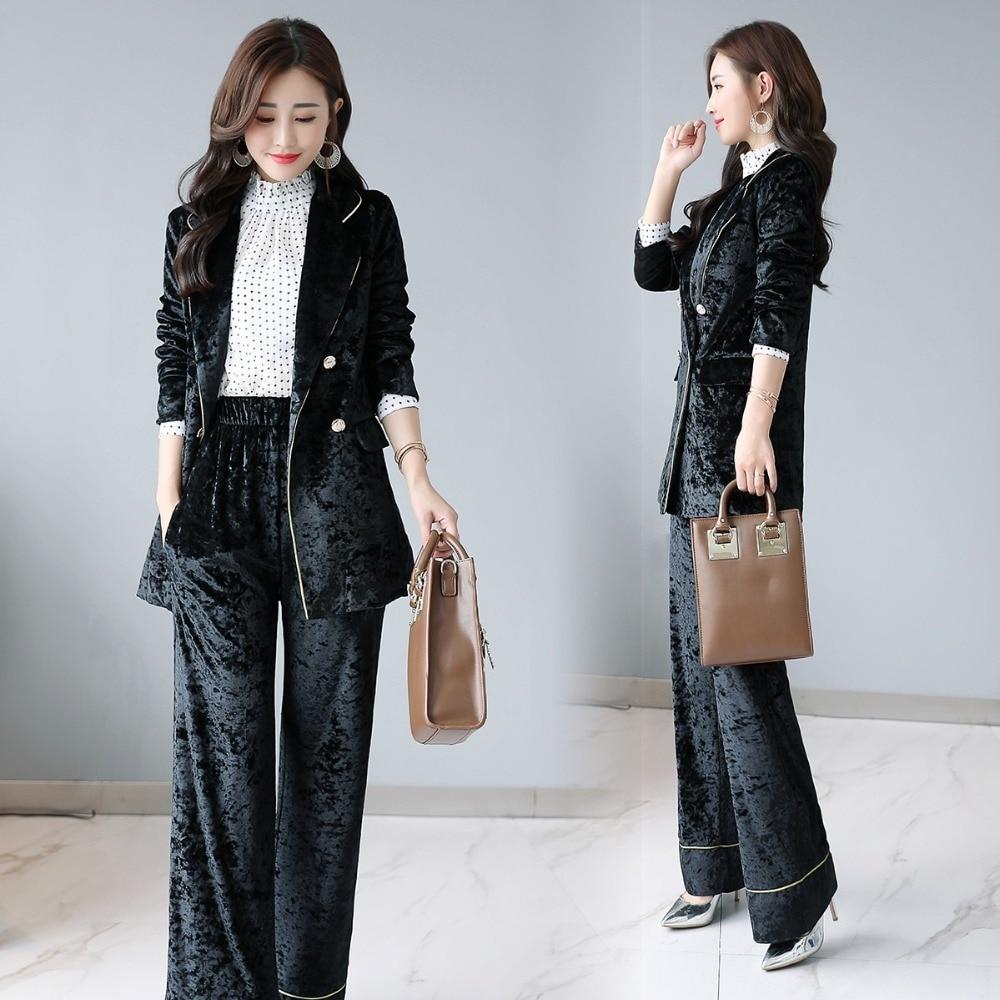 Spring Work Pant Suits OL Double Breasted velvet Blazer Jacket & Elastic waist Pant 2 Piece Sets Suit Women Outfits Feminino 16