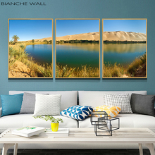 Nordic Nature Landscape Poster Desert Oasis Lake Scandinavian style Wall Art Canvas Print Painting Living Room Decor Picture