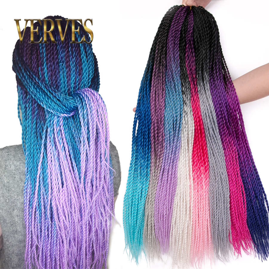 VERVES 24 Inch Ombre Senegalese Twist Hair 30 Roots/pack Crochet Braids Synthetic Braiding Hair For Women Grey,bonde,pink,brown